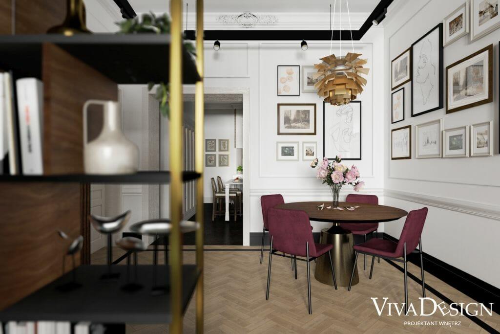 Wizualizacja jadalni w zabytkowym domu w Jarosławiu, widok na okrągły stół z krzesłami, Catellan Italia Yoda Wood, BO Concept krzesło Newport, Warszawa, pomysł na, wystrój wnętrz, inspiracje, pod klucz, projektant wnetrz