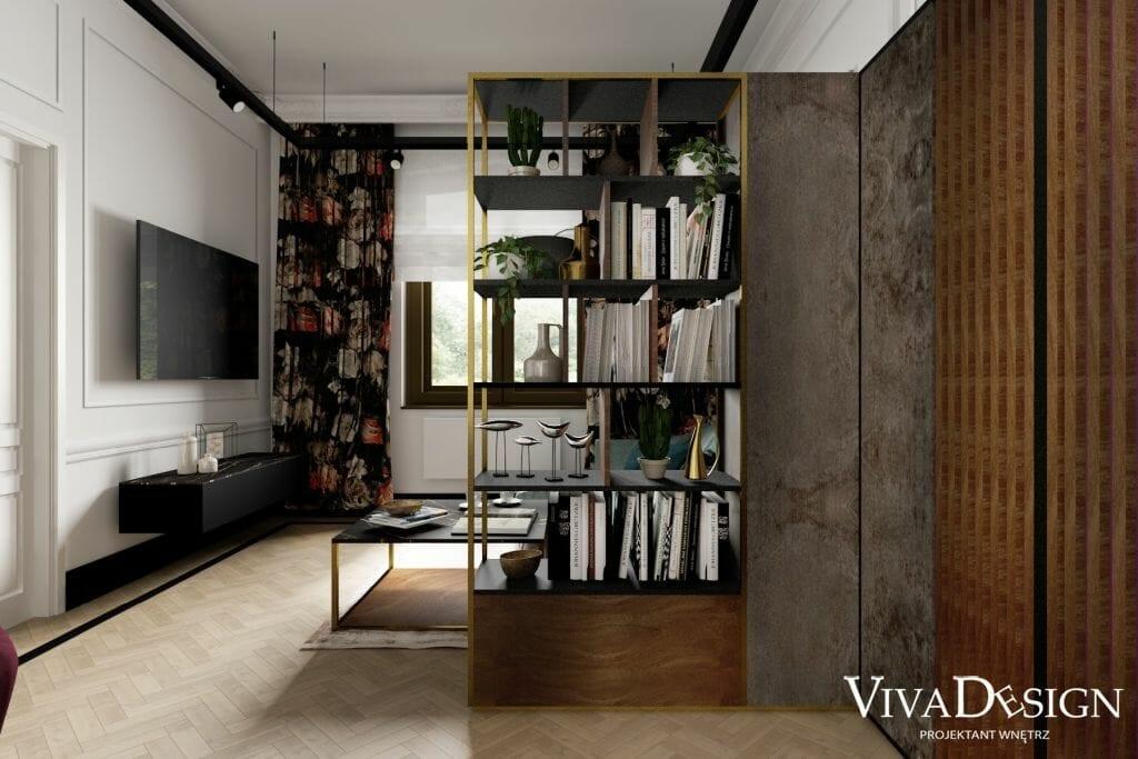 Wizualizacja strefy wypoczynkowej w zabytkowym dworku z Jarosławia, Regał wykonany według projektu Viva Design, szafka RTV BO Concept Lugano, dywan Dywan ARACELIS PALOMA 230x160, szynoprzewód na linkach z reflektorami AqForm Petpot LED 230V M930 36 stopni, kolor czarny mat, inspiracje, architektura wnętrz, architekt wnętrz, projektant wnetrz, projekty wnętrz, Kraków