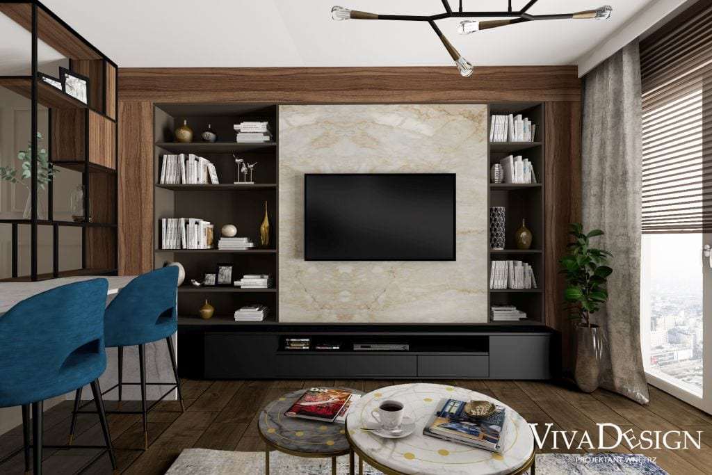 zabudowa w salonie drewno kamień na ścianie ściana TV pomysł na salon