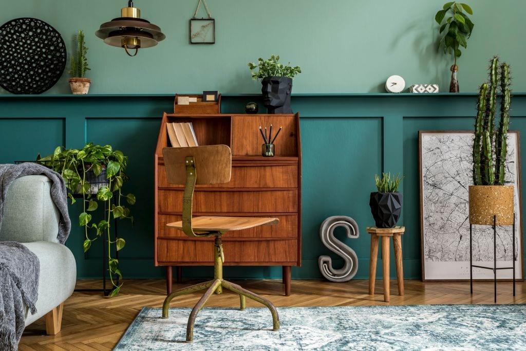 vintage meble sekretarzyk zielen drewno